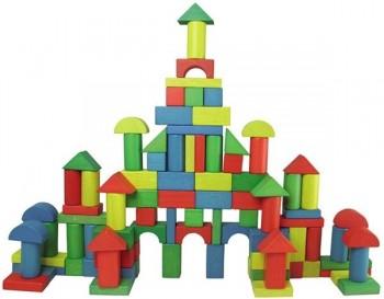 Bote 80 piezas construccion en madera de colores
