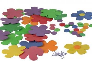 Bolsa 24 formas de flores caucho eva y 24 circulos multicolores