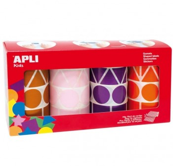 APLI Etiquetas gomets adh.colores surtidos FIGURAS GEOMETRICAS 5428und. ROSA/LILA/MARRON/NARANJA