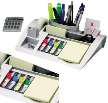 Organizador de mesa con bloc notas Post-it 655, 2 dispensadores medianos Post-it Index y un rollo de