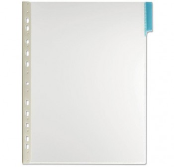 Caja 5 fundas clasificadores a4 transparente marco azul