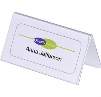 Caja 25 portanombres sobremesa de plástico rígido transparente 5,2x10cm