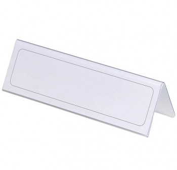 Caja 25 Portanombres sobremesa de plástico rígido transparente 6,1x21cm