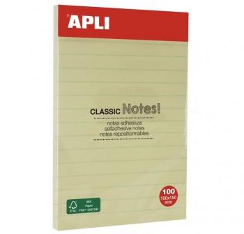 APLI Notas ashesivas 100x150mm amarillas con lineas azules 100hojas
