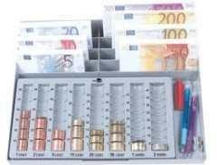 LIDERPAPEL Portamonedas euros plastico con bandeja metálica para billetes