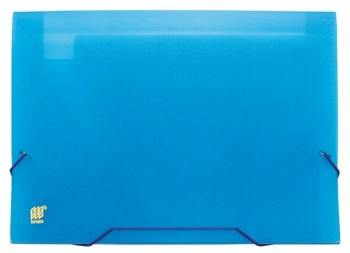 Carpeta fuelle A4 translúcido con 12 separadores cierre gomas azul