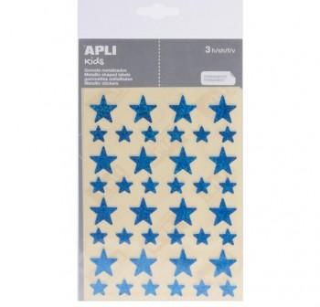APLI Etiquetas gomets adhesiva ESTRELLA HOLOGRAFICA AZUL 3hojas