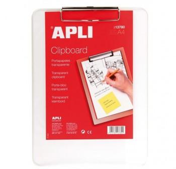 APLI Tablero inventario base plastico A4 transparente (clipboard)