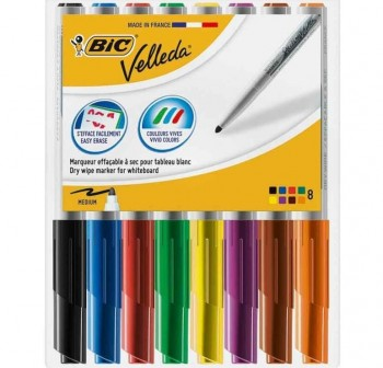 Bolsa 8 marcadores de colores de pizarra blanca