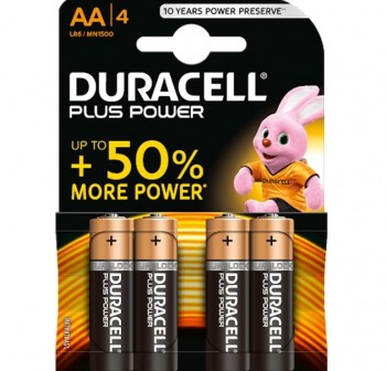 Blister 4 pilas Duracell Plus Power 1,5v LR06 AA