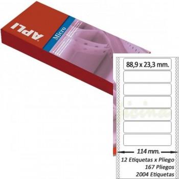 Pack 2004 etiquetas matricial 88'9x23'3Mm salida 1 etiq