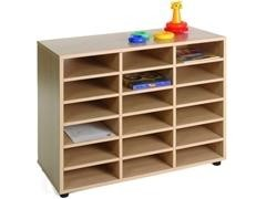 Mueble de 18 casillas fabricado en melamina de haya de 19 mm 90x40x76,5 cm