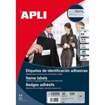Caja 540 Portanombres Adhesivos removibles APLI 63,5x29,6mm