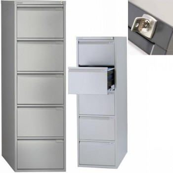 Archivador metálico BS Premium 5 cajones de archivo. Fº. Tirador clásico cromado 470x1511x622mm. Gri
