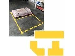 Pack 10 símbolos adhesivos forma tiras longitudinales color amarillo
