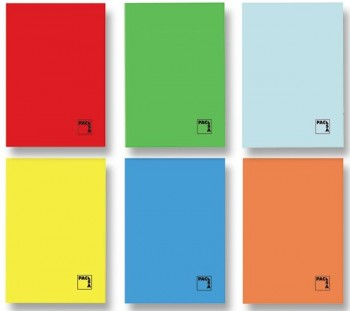 Libreta grapada PACSA cuarto 70gr 50h cuadricula pauta 3,5 colores surtidos