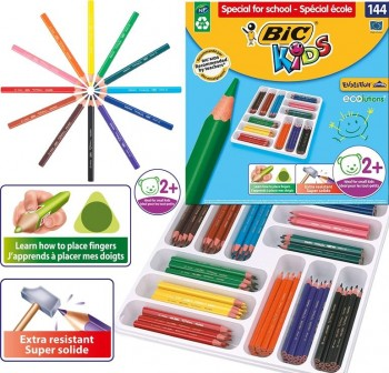 Bic Caja de 144 lapices de colroes evolution triangulares