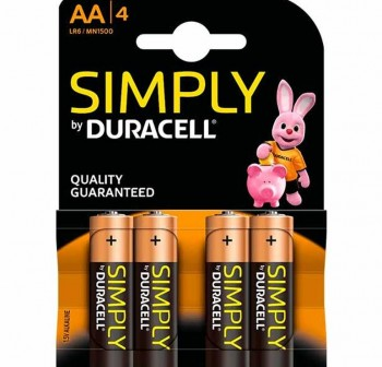 Blister 4 pilas duracell alcalina simply AA
