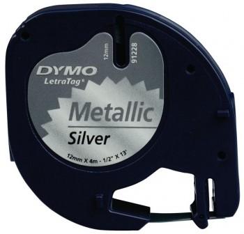 DYMO Cinta LetraTag 12x4 metalica PLATA 91208