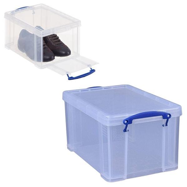 Caja almacenaje Really Useful boxes 14 l apertura frontal y superior color cristal transparente