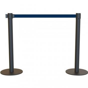 Poste separador negro con cinta extensible 2m azul