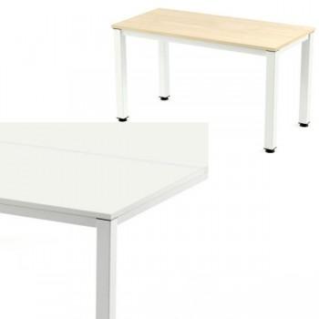 Mesa rectangular serie Executive 140x80x72-77cm.blanco/haya