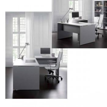 Ala rectangular serie Premier estructura melamina color blanco encimera roble 100x60x75cm.