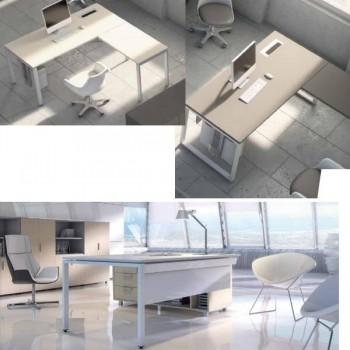 Extensión para mesa rectangular serie Ipop estructura metálica blanca encimera roble 140x80x74cm.