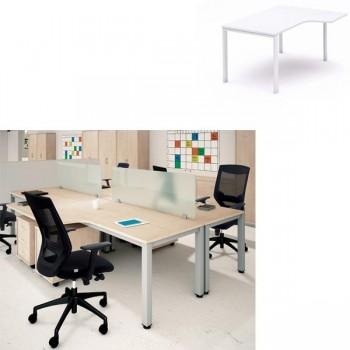 Mesa en forma de L derecha serie Executive 160x120x72cm. Blanco-blanco