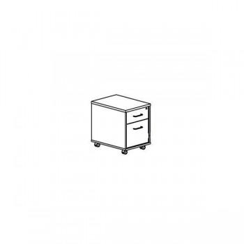 Buck móvil 1 cajón + 1 cajón archivo 40x58x59,5cm. Blanco/blanco