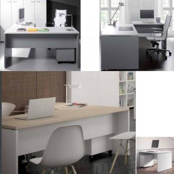 Mesa rectangular Premier estructura melamina color blanco encimera roble 120x80x75cm.